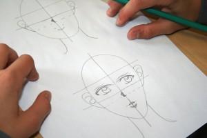 Visage bien avancé dessiné par une élève