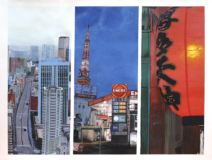 Promenade dans Roppongi à Tokyo, acrylique