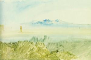 Mont Gennaro pres de Rome (1819) aquarelle de Turner