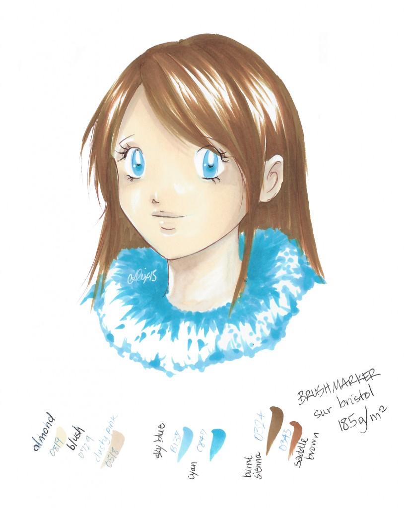 test brushmarker fille bleue