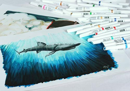 pigment marker dessin requin