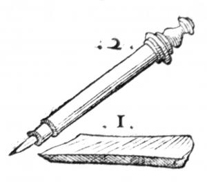 Dessin d'un crayon inventé par Conrad Gesner dans son livre sur les fossiles en 1565