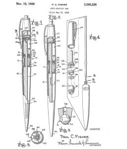 Exemplaire du brevet déposé par Paul Fisher pour son Space Pen