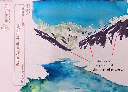 Montagnes au feutre Ecoline Brush Pen