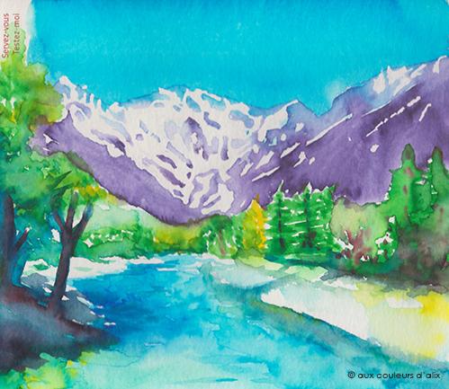Paysage au feutre aquarelle Ecoline