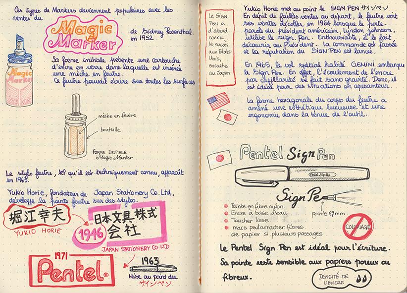 Test stylo plume et feutre sur Rhodiarama