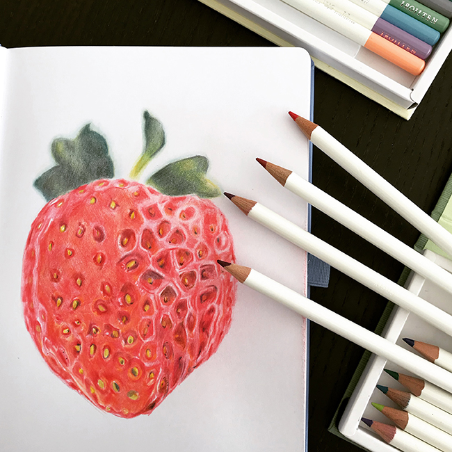 dessin fraise avec crayons irojiten