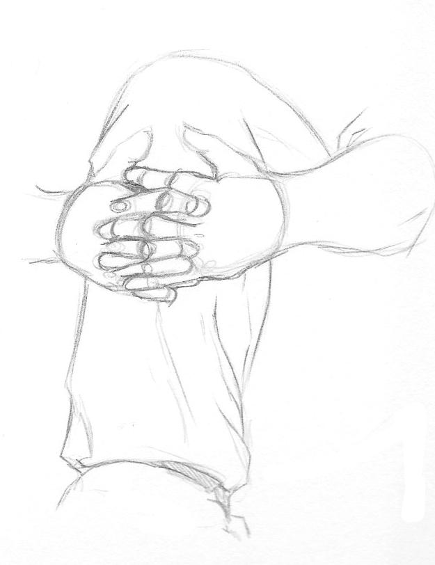 mains croisées autour du mollet