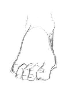 pied de face dessiné