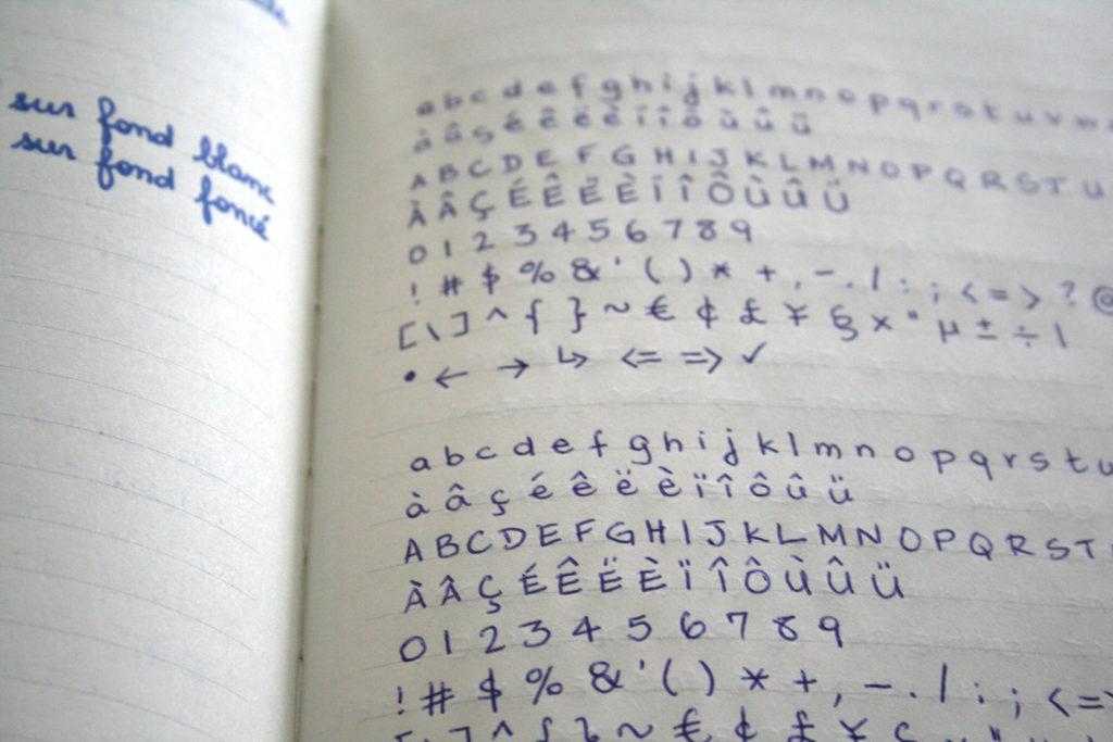 Essai de stylo bille et stylo plume sur Paperblanks
