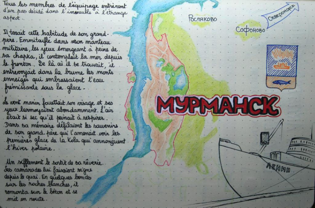 Exemple de travail au crayon de couleur sur Rhodiarama