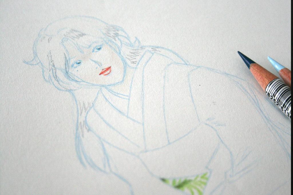 Esquisse préliminaire au crayon de couleur Derwent Procolour