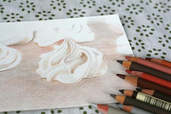 Meringues faites au crayon polychromos de faber castell