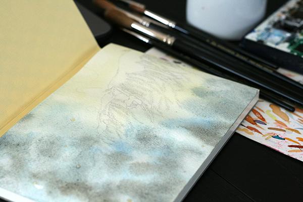 Début de l'aquarelle sur papier Fabriano