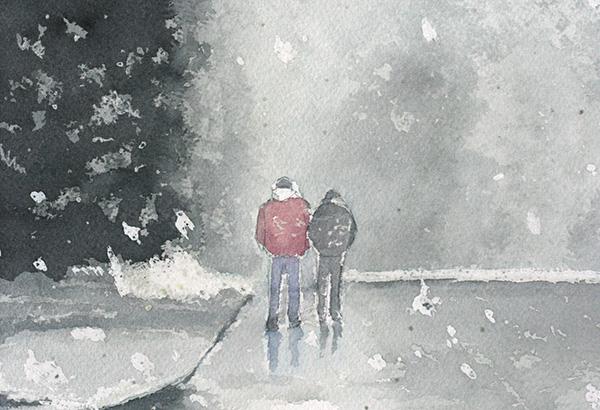 Peinture terminée avec effet de neige