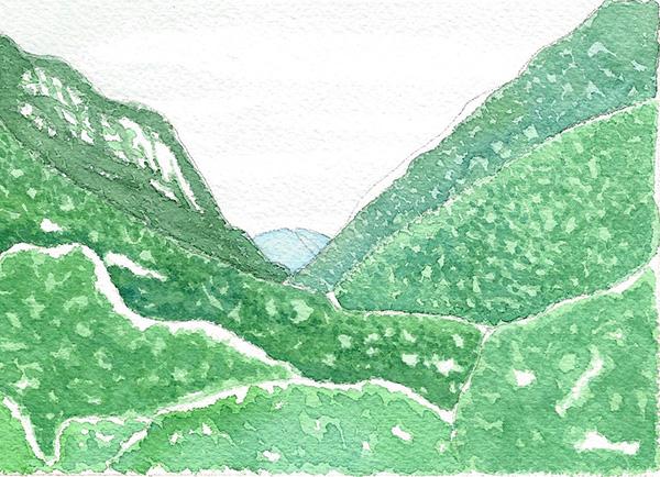 Montagnes peintes à l'aquarelle
