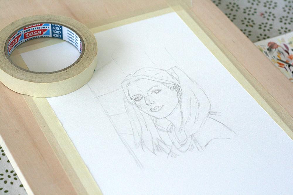 Fixation du papier en vue de la peinture à l'aquarelle Hydrus