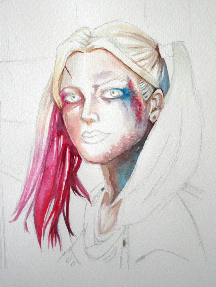 Couleurs d'aquarelle Hydrus peintes sur Harley Quinn