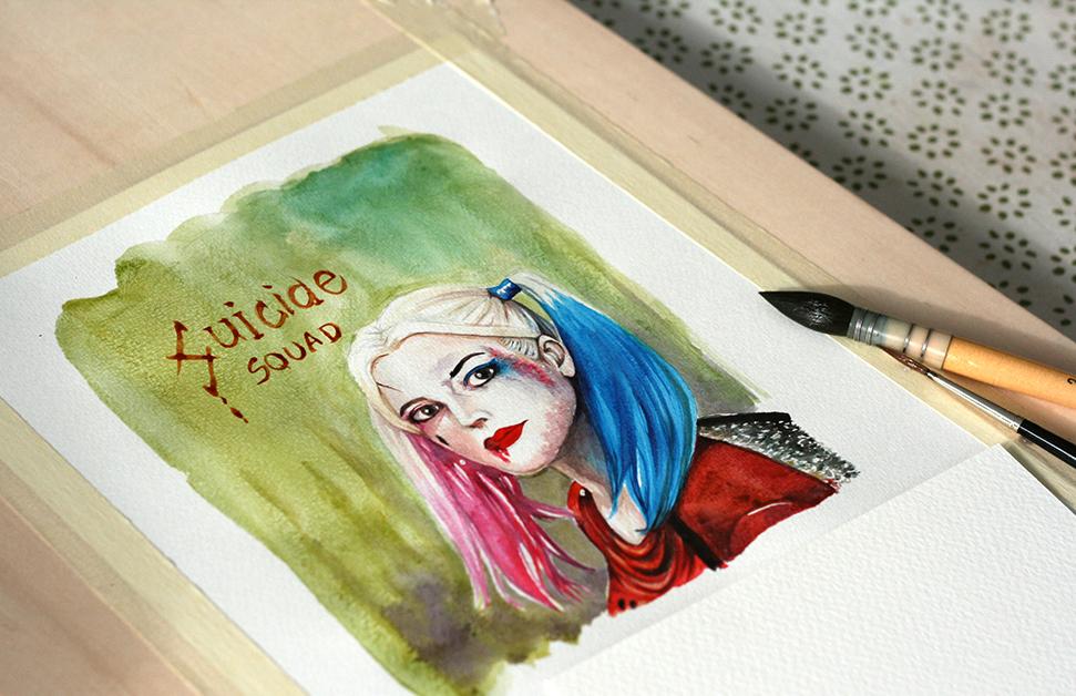 Peinture à l'aquarelle liquide de Harley Quinn terminée