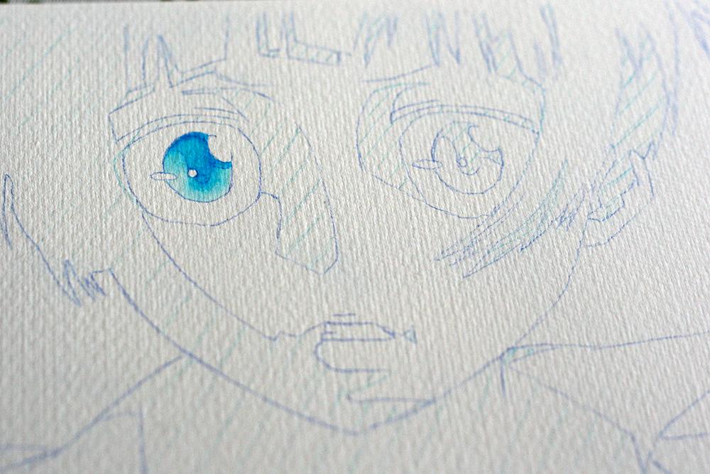 Premier essai du Molow Aqua Color Brush sur l'oeil de mon personnage.