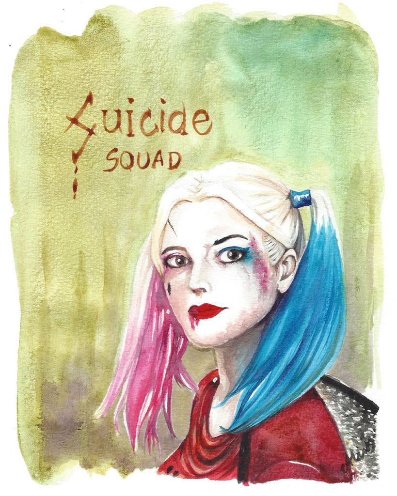 Dessin de Harley Quinn réalisé à l'aquarelle liquide Hydrus