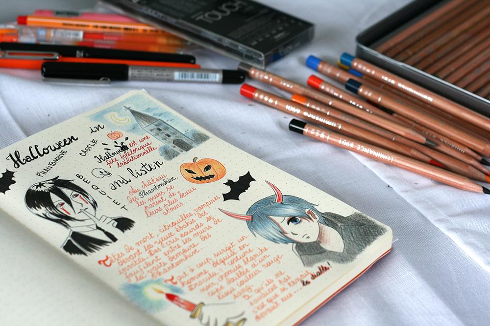 Ensemble du matériel utilisé pour réaliser ma page de journal avec le stylo iZee de Pentel