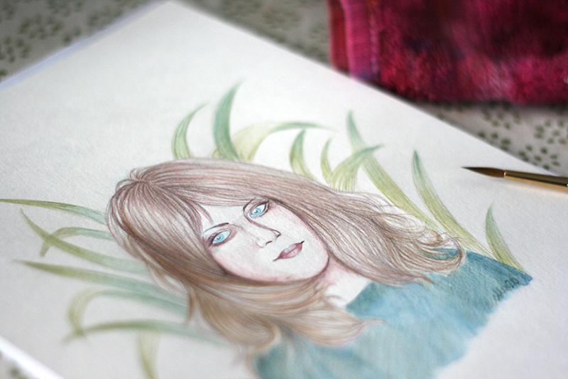 Portrait terminé au crayon graphite aquarellable teinté Staedtler