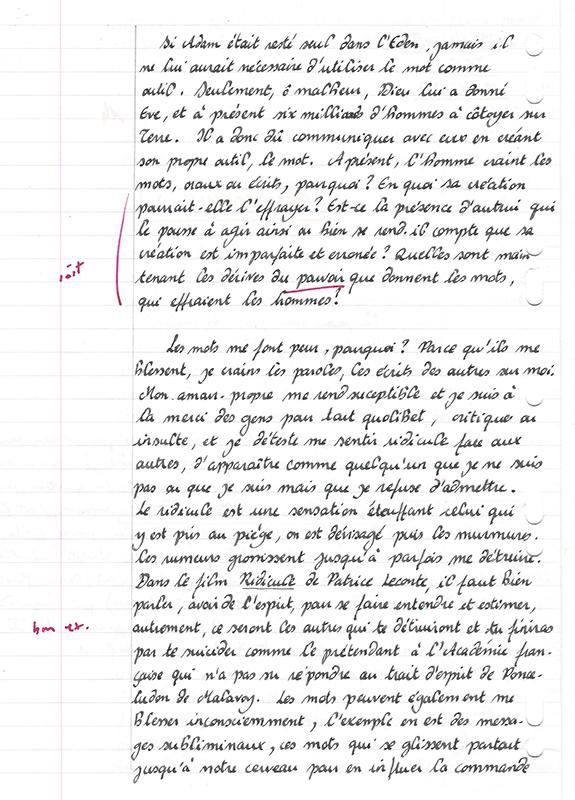 copie de cours calligraphie philosophie
