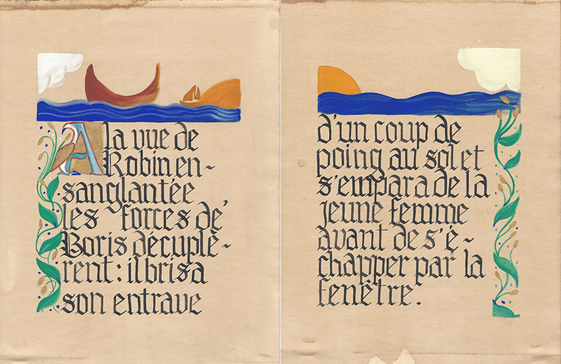 Calligraphie gothique narration