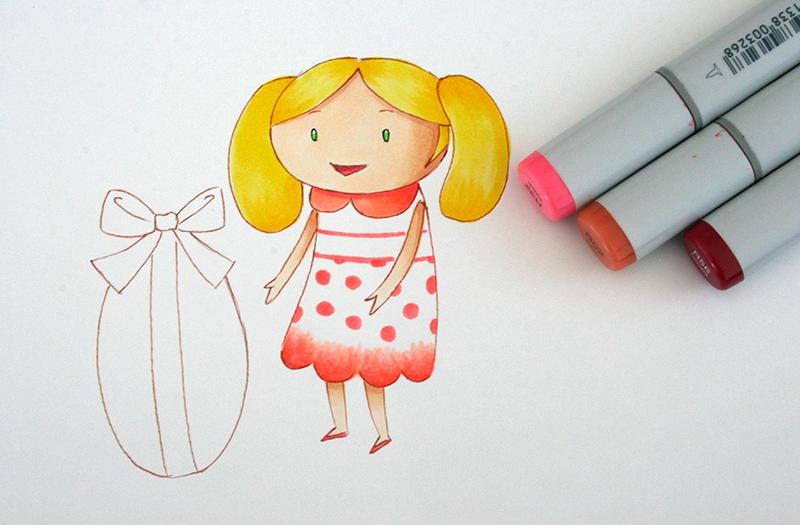 couleur rose de la robe au feutre à alcool copic