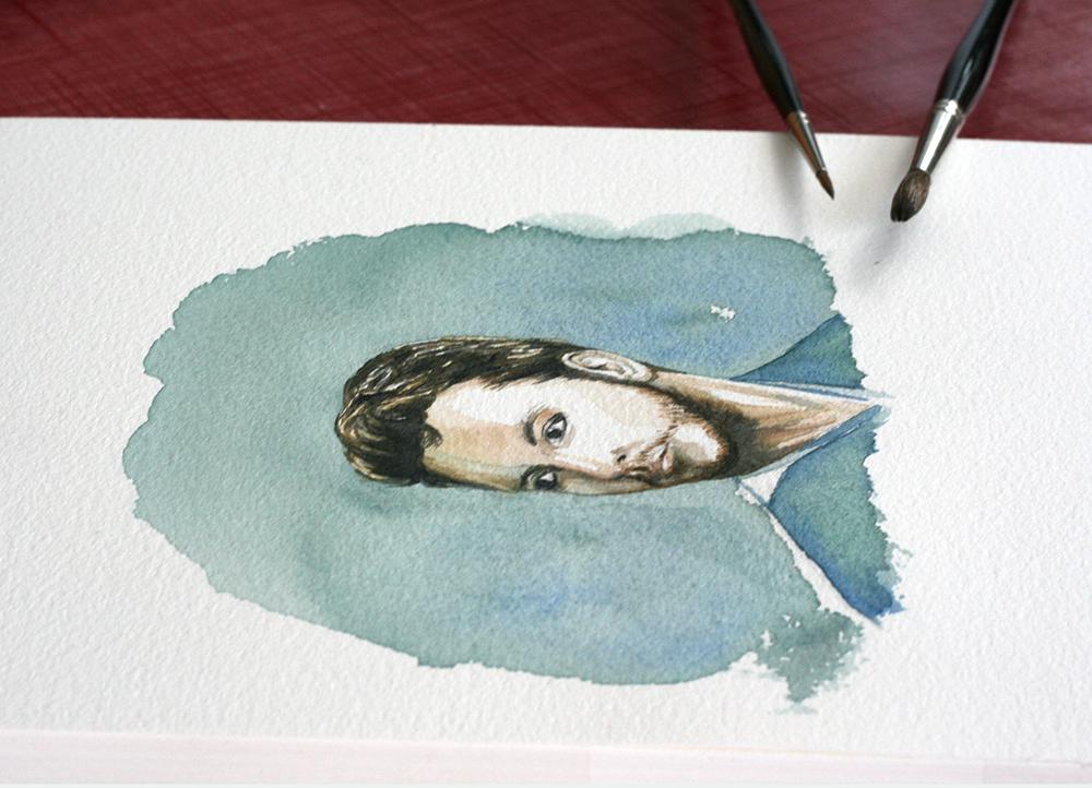 Fin de l'aquarelle réalisée au pinceau Maestro Série 10 Da Vinci