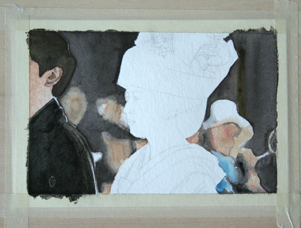 Peinture du marié japonais à l'aquarelle