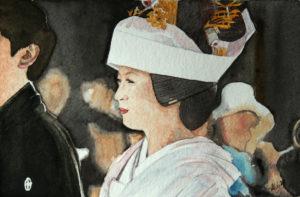 Mariée japonaise à l'aquarelle