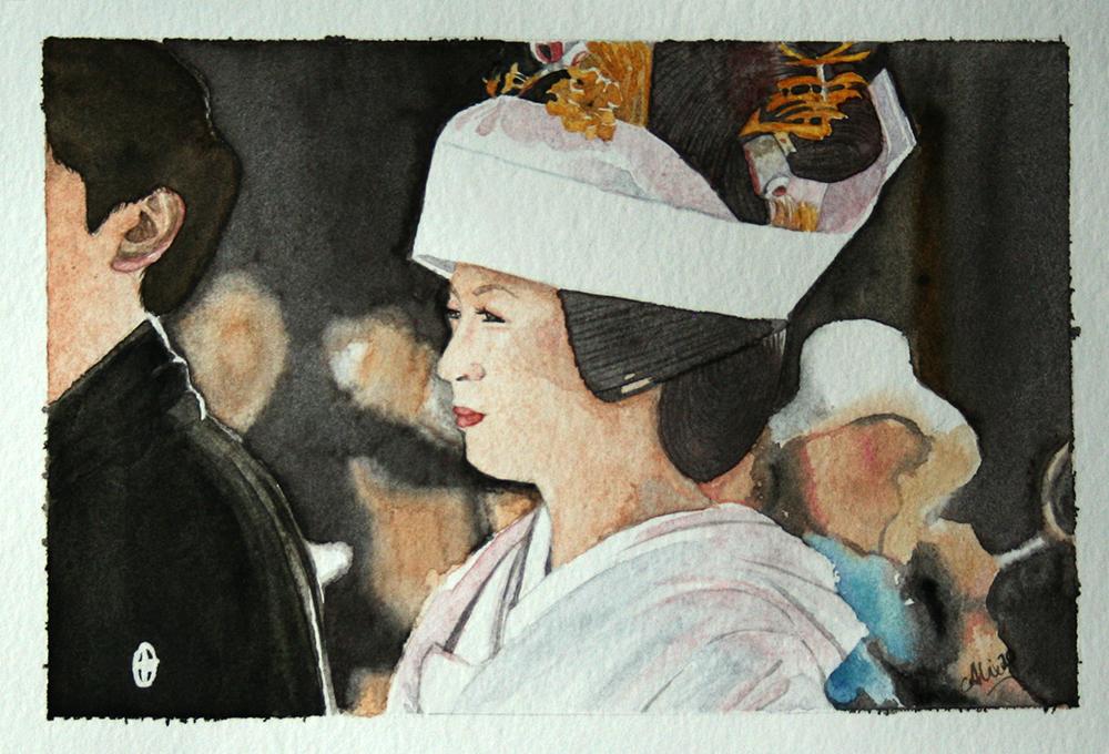 Fin de l'aquarelle sur la mariée japonaise