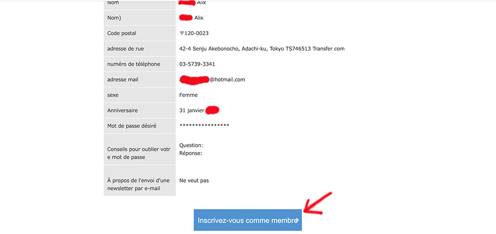 Page de confirmation d'inscription