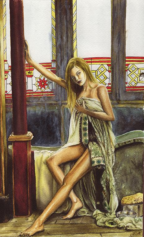 Jeune femme au bain - encre aquarelle - papier Montval