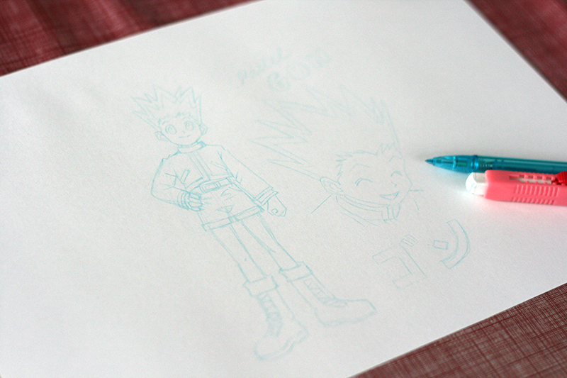 Croquis au crayon bleu de Gon Hunter x Hunter.
