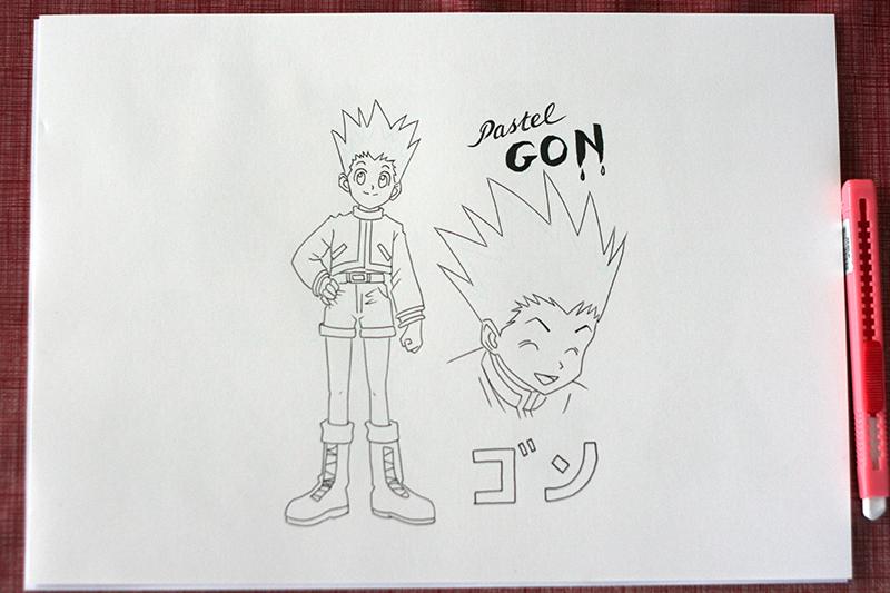 Encrage du dessin de Gon Hunter x Hunter avant colorisation au feutre à alcool