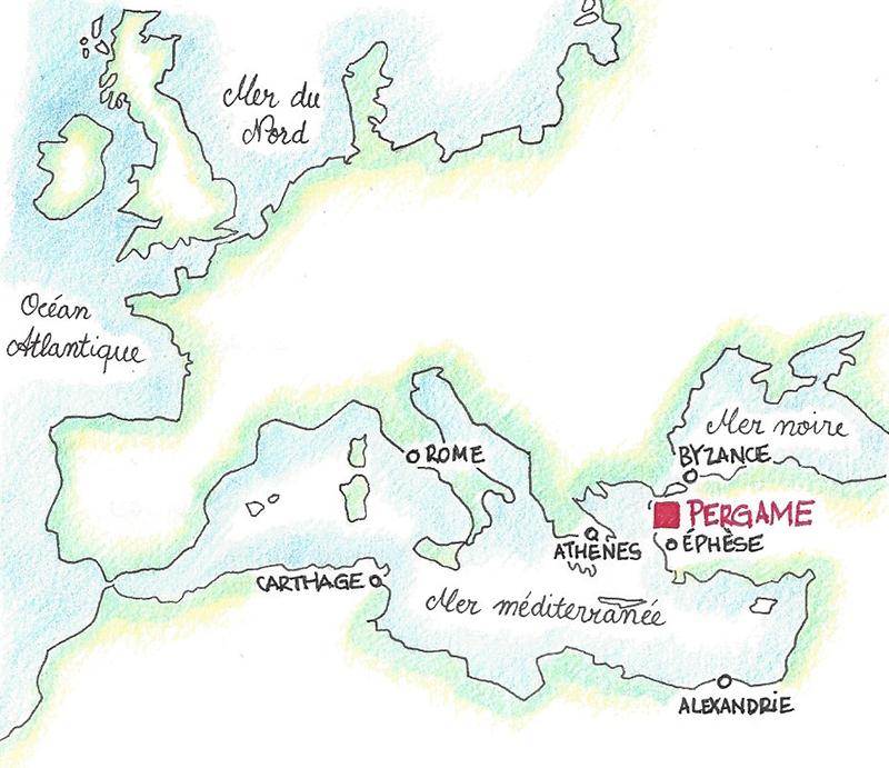 Carte du bassin méditerranéen et Pergame