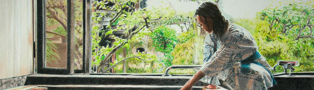 Jeune fille au bain au crayon de couleur