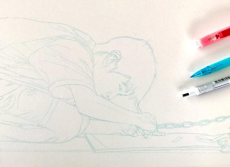 Esquisse au crayon de couleur bleu
