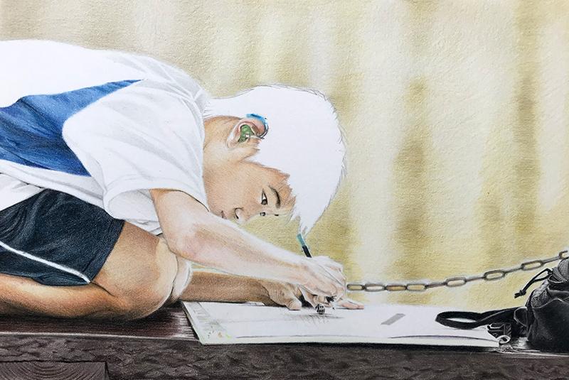 Mise en couleur de la peau au crayon de couleur
