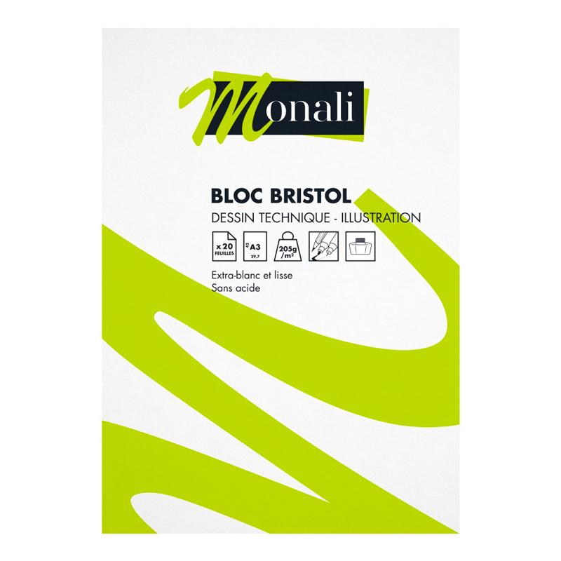 Bloc de papier bristol Monali A4