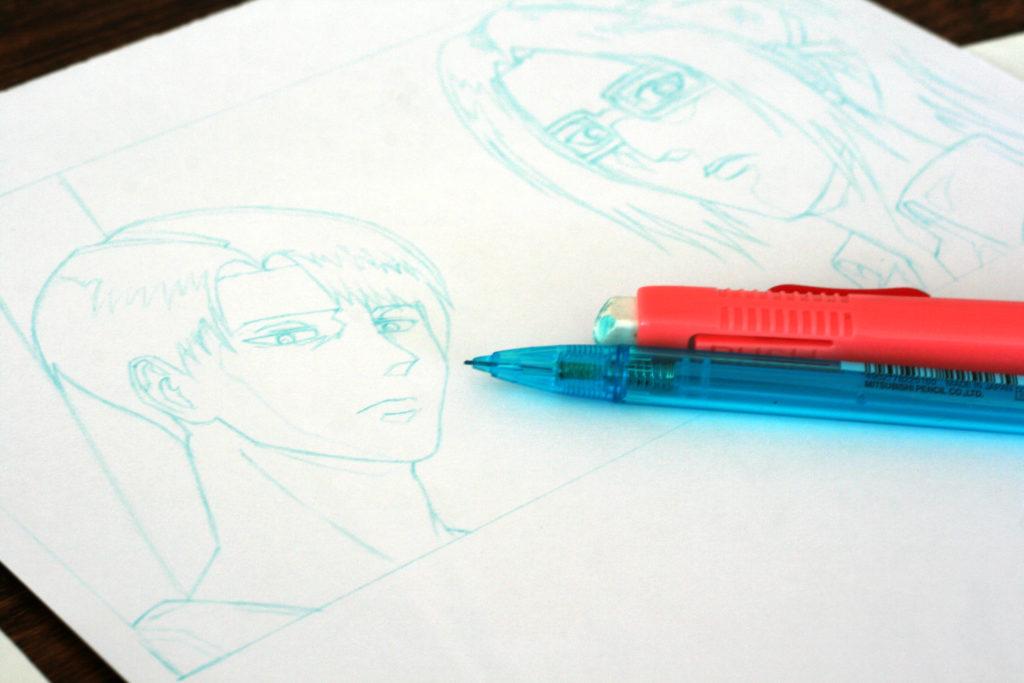 Test de crayon bleu sur papier bristol Monali