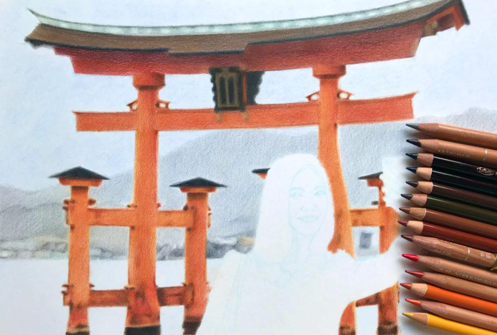 Photo à Miyajima - Torii au crayon de couleur rouge