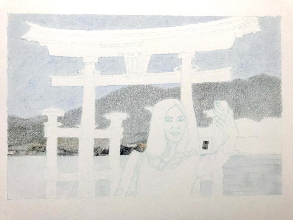 Arrière-plan de la Photo à Miyajima au crayon de couleur