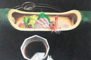 Dessin sashimi au crayon de couleur